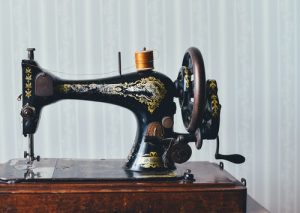 Classic sewing machine on display at upholsterers Edinburgh