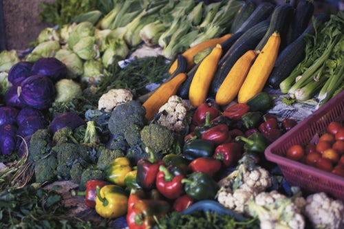 Healthy vegetables Laid Out at a Farmer's Market